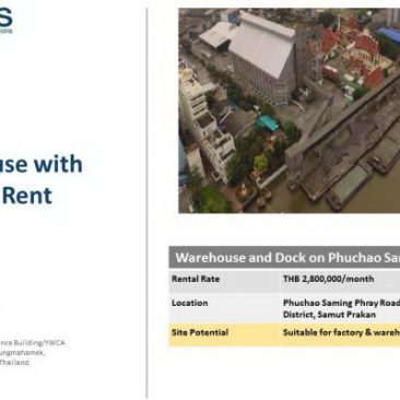 Warehouse with Dock for Rent on Phuchao Saming Phray Rd.
